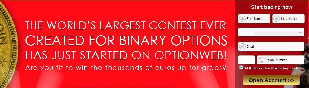 Регистрация у брокера бинарных опционов OptionWeb